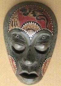 木彫りマスク〜ティモールペイント〜☆25cm/その1☆