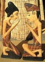 バリ島木彫り人形《祈り》〜男女ペア〜=ナチュラル=