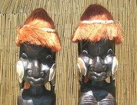 木彫りエスニックドール《赤毛の人形》1m〜男女ペア〜
