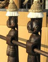 木彫りエスニックドール《白毛のハンガー人形》100cmA
