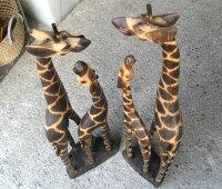 バリ島の木彫り人形《キリンの親子》