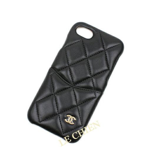 【新品】シャネル iPhoneケース A83563 iPhone7/iPhone8 ブラック/ゴールド金具 ラムスキン