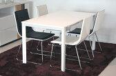 鏡面仕上げ ダイニングセット5点 130サイズテーブルチェア4脚5点セット【送料無料】曲線とても座り心地抜群!ホワイト ダイニング5点セット グレース(Grace dining table set with 4chairs white) 【02P06Aug16】