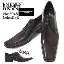 鞋子 - KATHARINE HAMNETT LONDON キャサリン ハムネット ロンドン 紳士靴 3948 ダークブラウン スクエアトゥ スワールモカ レースアップ ビジネス 送料無料