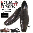 ショッピング紳士 英国で培われた伝統のスタイルを正統継承!KATHARINE HAMNETT LONDON キャサリン ハムネット ロンドン 紳士靴 KH-31594 ダークブラウン ストレートチップ スクエアトゥ 内羽根 送料無料