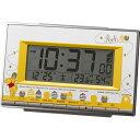 リズム時計 8RZ133MC08 くまのプーさん 電波目覚まし時計 温湿度計付き