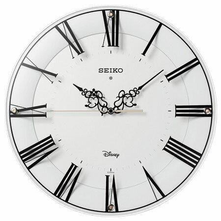 SEIKO FS 506W(白塗装) ミッキー&ミニー 電波掛け時計