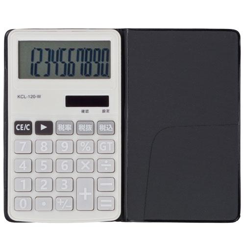 オーム電機 KCL-120-W(ホワイト) 電卓 ソーラー 手帳サイズ 10桁