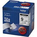 ブラザー TZe-221V ピータッチ ラミネートテープ 黒文字/白 9mm 5個