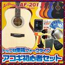 アコースティックギター 初心者セット Aria Dreadnought AF-201 スプルーストップ単板 アリア ドレッドノート【アコギ初心者】【送料無料】