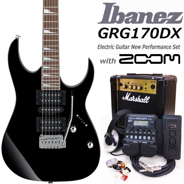 Ibanez アイバニーズ GRG170DX BKN エレキギター マーシャルアンプ付 初心者セット16点 ZOOM G1Xon付き【エレキギター初心者】【送料無料】