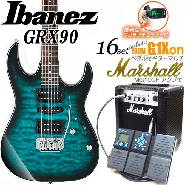 Ibanez アイバニーズ GRX90 TMS エレキギター マーシャルアンプ付 初心者セット16点 ZOOM G1Xon付き【エレキギター初心者】【送料無料】