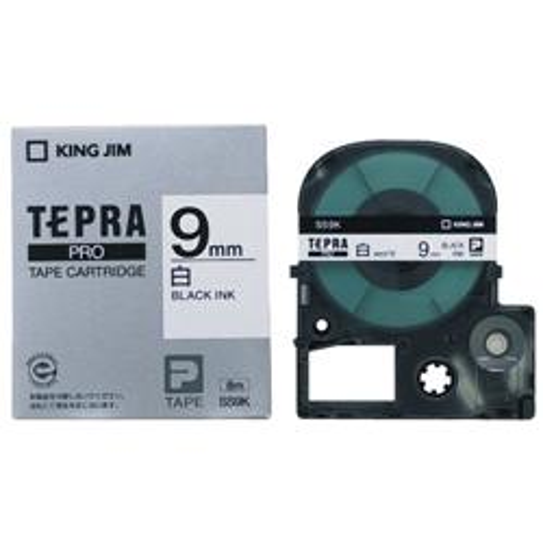 キングジム テプラPRO 白ラベル 白 黒文字 9mm SS9K