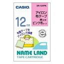 CASIO XR-12VPK ネームランド アイロン布テープ ピンク/黒文字 12mm