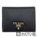 PRADA(プラダ)1MV204 2BG5 2つ折り財布 ブラック レッド 【USED-A】【中古】