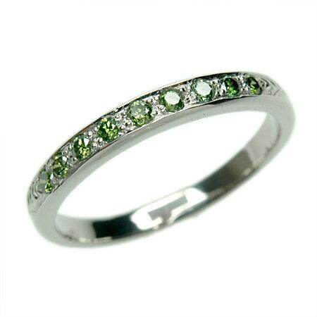 プラチナ900 グリーンダイヤモンドリング 0.18ct プレゼントにもおすすめ