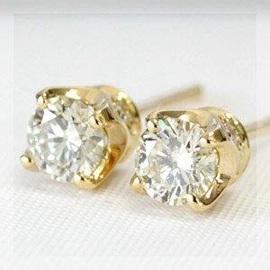 K18  ほんのりレモンイエローカラーが美しい ダイヤモンド 四本爪 スタッド ピアス 0.4ct