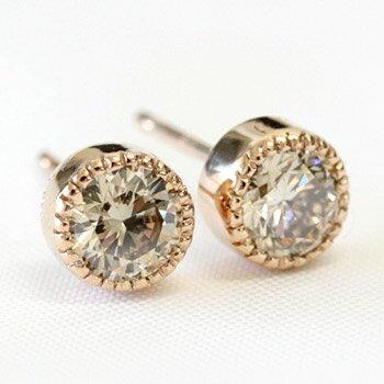K18 シャンパンブラウン ダイヤモンド ピアス0.6ctK18ホワイトゴールド・K18ピンクゴールド・K18イエローゴールドアンティーク感漂うミル打ちデザインダイヤピアス 【ユニークな形状】