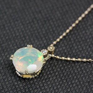 オパール ダイヤモンド ペンダント ホワイト ゴールド