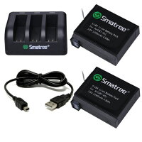 SmatreeGoProHERO4用バッテリー2個+USB充電器セット