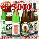 日本酒 大吟醸入り飲み比べセット720ml×6本厳選きき酒セット(越後杜氏入魂大吟醸、朝