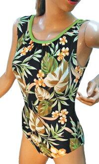 Bastfitwan 連體泳衣 * 綠色欄位風力大小: 3 L [大尺寸泳裝] [女士女女士泳裝健身泳裝度假村游泳正常圖案大列印大小 — — 日本]