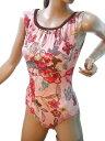 バストの大きい方も苦しくなく綺麗にご着用いただけます。バストフィットワンピース水着*ヨーロピアンフラワー サイズ:3L【ピンク】 ◇