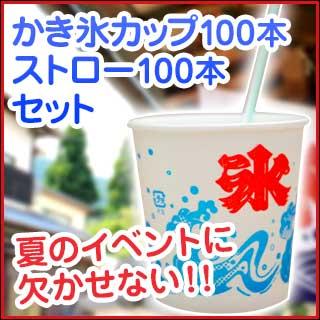 【業務用】かき氷カップ100個とストロー100本セット