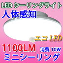 LEDシーリングライト 人感センサー付き 10W ミニシーリング 1100LM 4.5畳以下用 小型 工事不要 [SCLG-10W]
