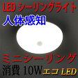 LEDシーリングライト 人感センサー付き 10W ミニシーリング 4.5畳以下用 小型 工事不要 [SCLG-10W]