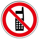 ユニット サインタワー用丸表示 携帯電話使用禁止 透明PET樹脂 393Фmm 887-727 ※本体と同時注文で送料無料