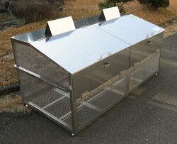 【完成品】ステンレス製ゴミ収納BOXワンニャンカア(ステンレスNSSCFFW2使用)大型タイプGH-180N幅1800×奥行900×高さ850mm