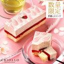 さくら苺ケーキ 長方形 2〜3名様用【冷凍便】桜スイーツ いちごスイーツ 卒業 入学 入