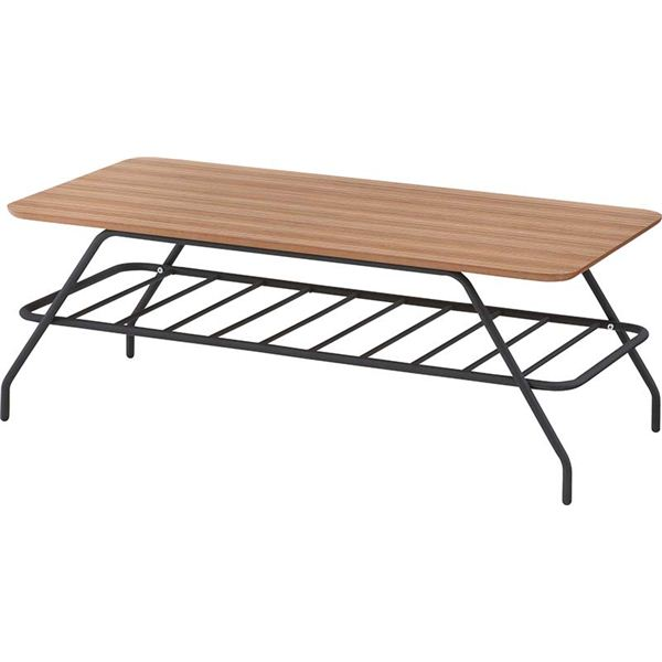 直送・ コーヒーテーブル スチール/ゼブラウッド 棚収納付き 木目調 END-001 別商品の同時注文 天然木を使用したおしゃれなミニテーブル(机)