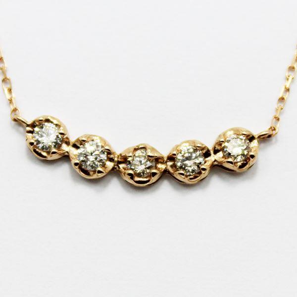 直送・ 18金ピンクゴールド0.3ctダイヤモンド5ラインデザインペンダント 別商品の同時注文 ダイヤネックレス