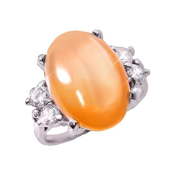 直送・ オレンジムーンストーンリング 7号 別商品の同時注文 目を惹く美しいオレンジが一度見たら忘れられないオレンジムーンストーンリング