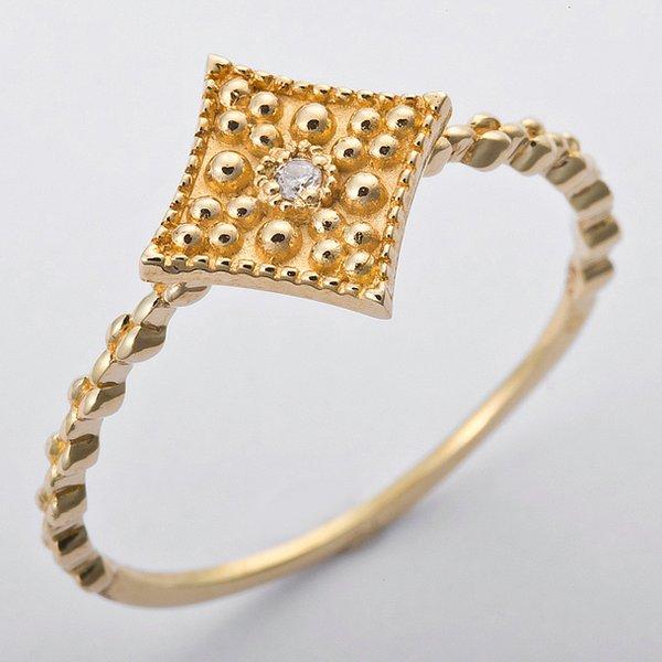 直送・ K10イエローゴールド 天然ダイヤリング 指輪 ダイヤ0.01ct 10.5号 アンティーク調 スクエアモチーフ 別商品の同時注文 ダイヤモンドリング 人気のアンティーク調カジュアルジュエリー