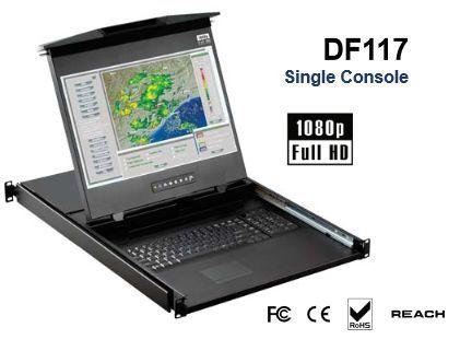 【キャンセル不可】DF117-IP1602E 「直送」【代引不可・他メーカー同梱不可】 オースティンヒューズ 1U 17インチワイド デュアルスライド16ポートIP-KVMドロアー