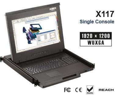 【キャンセル不可】X117-1201DE 「直送」【代引不可・他メーカー同梱不可】 オースティンヒューズ 1U 17インチ高解像度 DVI-D 12ポートKVMドロアー