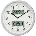 カレンダー?温度?湿度表示機能付。【?4/20 23:59まで)】【】リズム時計 電波掛時計 ネムリーナカレンダーM01 シルバーメタリック色(白) 4FYA01-019 [4FYA01019]