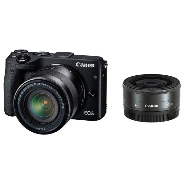 【送料無料】キヤノン デジタル一眼カメラ・ダブルレンズキット EOS M3 ブラック EOSM3BKWLK [EOSM3BKWLK]