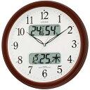 【送料無料】リズム時計 電波掛時計 ネムリーナカレンダーM01 茶色メタリック色(白) 4FYA01-006 [4FYA01006]