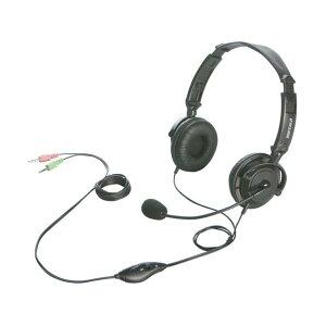 BUFFALO 両耳ヘッドバンド式ヘッドセット 半密閉/ノイズキャンセリングマイク搭載 ブラック BSHSH12BK [BSHSH12BK]