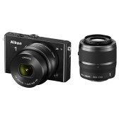 【送料無料】ニコン デジタル一眼カメラ・ダブルズームキット Nikon 1 J4 ブラック NIKON1J4WZBK [NIKON1J4WZBK]