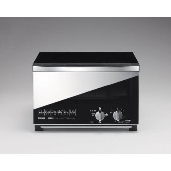 ツインバード ミラーガラスオーブントースター (B)ブラック TS-D047B [TSD047B]【RNH】