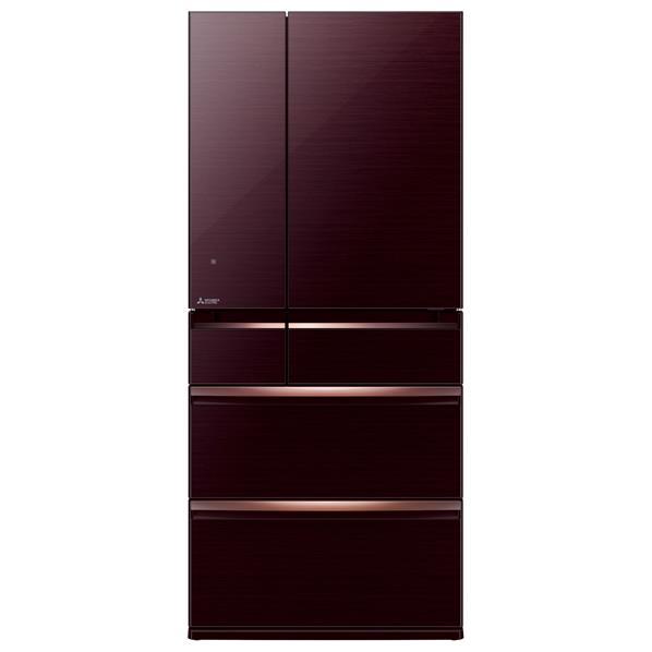 三菱 700L 6ドアノンフロン冷蔵庫 置けるスマート大容量 クリスタルブラウン MR-WX70C-BR [MRWX70CBR]【RNH】