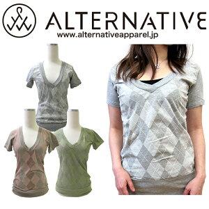 ALTERNATIVE オルタナティブアパレル・レディース アーガイル Tシャツ カットソー