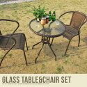 ガーデンセット ガラステーブル&スタッキングチェア2脚セット