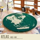 ラグマット Atlas 148×148 円形 地図柄ラグ カーペット