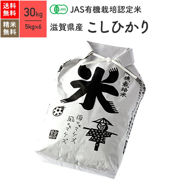 JAS有機米 オーガニック認証 無農薬 玄米 白米 滋賀県産 コシヒカリ 30kg 送料無料 28年産 新米 有機玄米 分つき米 真空パック